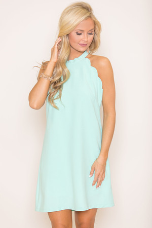Can't Stop This Love Scalloped Dress Mint