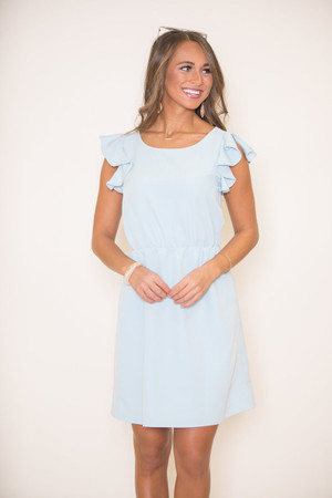 A Ruffle In Time Dress Light Blue