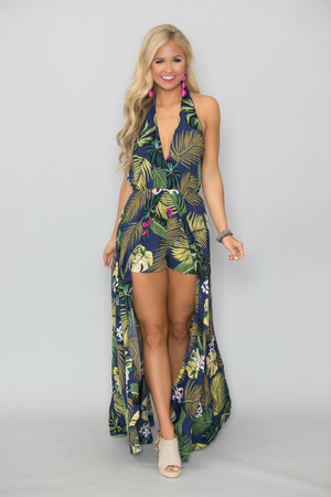 Nights In The Bahamas Printed Maxi Romper