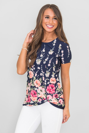 This Unforgettable Love Floral Blouse Navy