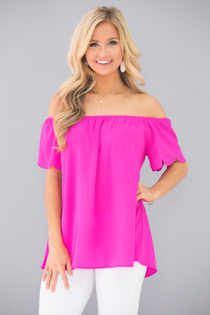 Afternoon Daydream Off The Shoulder Blouse Fuchsia