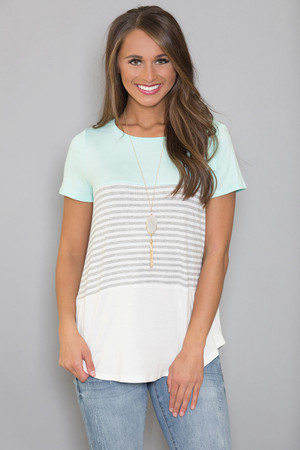 Spring Forward Striped Blouse Mint
