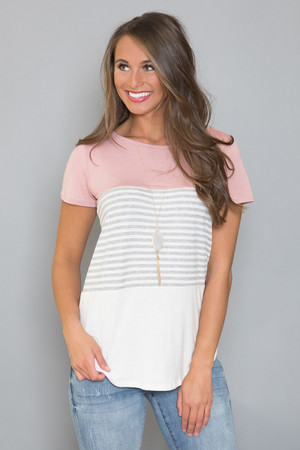 Spring Forward Striped Blouse Mauve