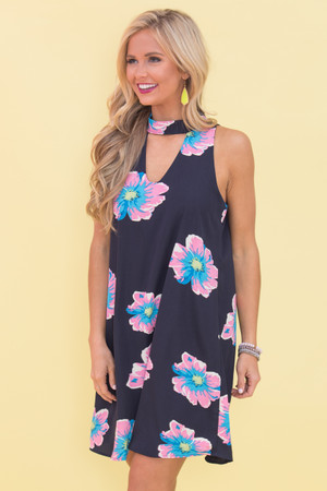 Our Peaceful Paradise Floral Dress Navy