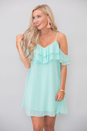 Let My Heart Glow Dress Mint