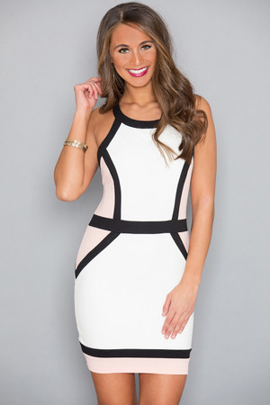 Spice Things Up Colorblock Dress Ivory