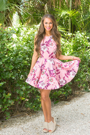 Make My Heart Dance Floral Dress Pink CLEARANCE