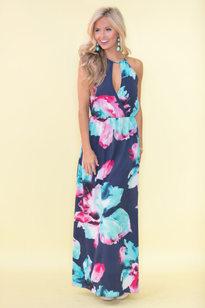 Delicate As A Flower Maxi Dress Navy