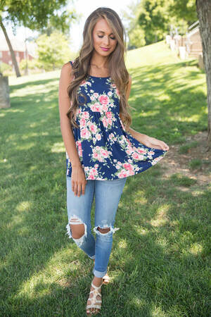 Couldn't Be Happier Floral Tank Navy