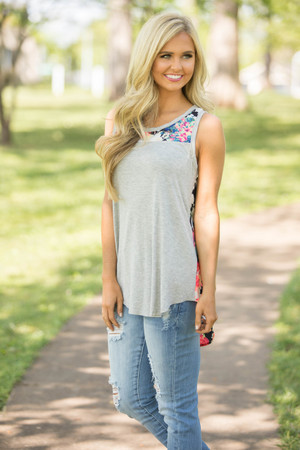 Summer Of Love Floral Tank Heather Grey