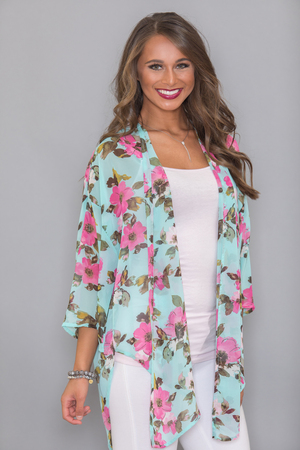 Down By The Water Floral Kimono CLEARANCE