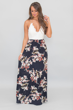 Love You More Every Day Maxi Dress Navy
