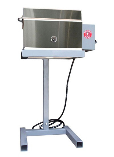 """Inside dimensions of kiln: 8"""" x 8"""" wide x 6.5"""" deep, fires to cone 10/2350°F; with adjustable stand ranging in height 23"""" to 33"""" tall"""
