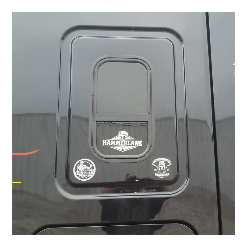 Hammer Lane Logo Decal On Sleeper Window