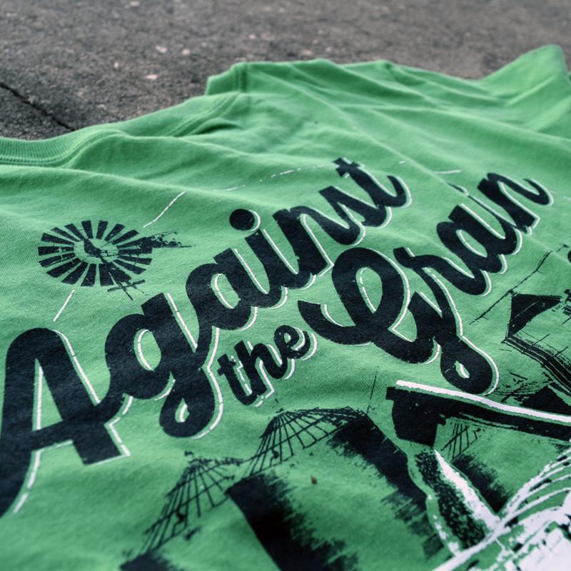Against The Grain Hammer Lane Trucker T-Shirt Close Up