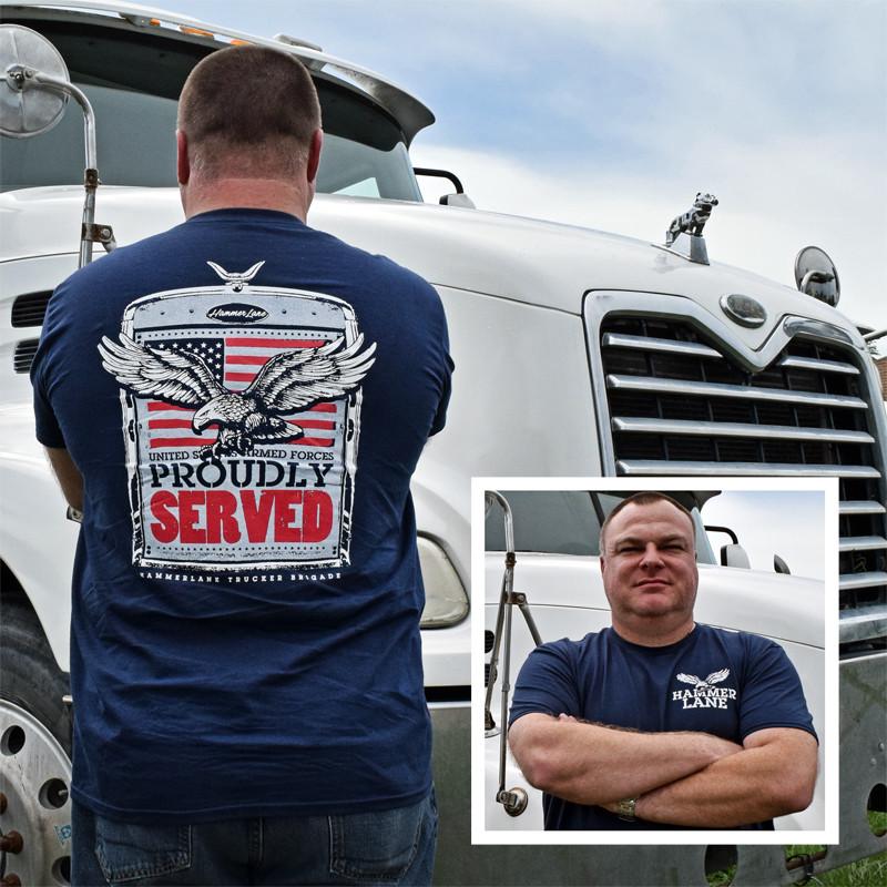 Veterans Hammer Lane T-Shirt Blue On Model