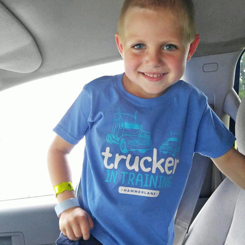 Trucker In Training Hammer Lane Toddler Tee Model