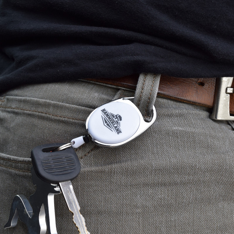 Hammer Lane Retractable Key Ring Around Belt Loop
