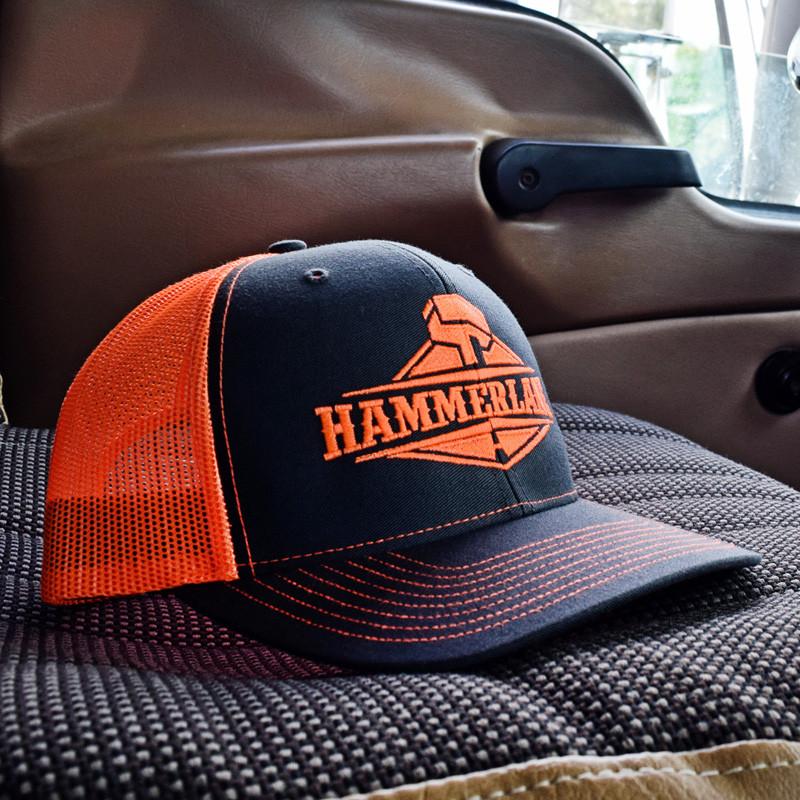 Snapback Neon Orange Hammerlane Trucker Hat In Truck