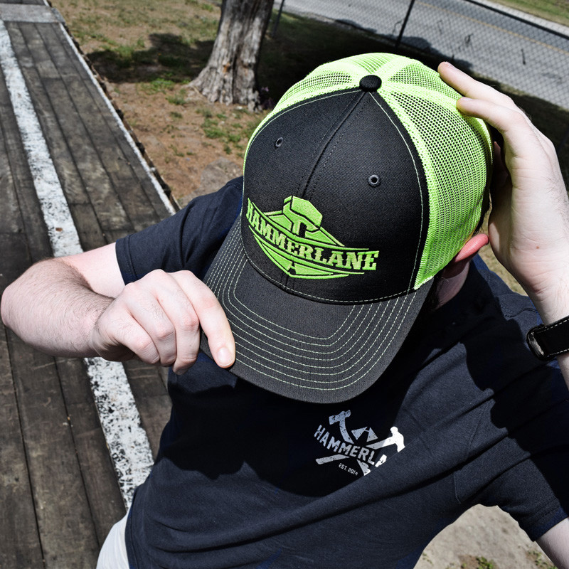 Snapback Neon Green Hammerlane Trucker Hat On Model