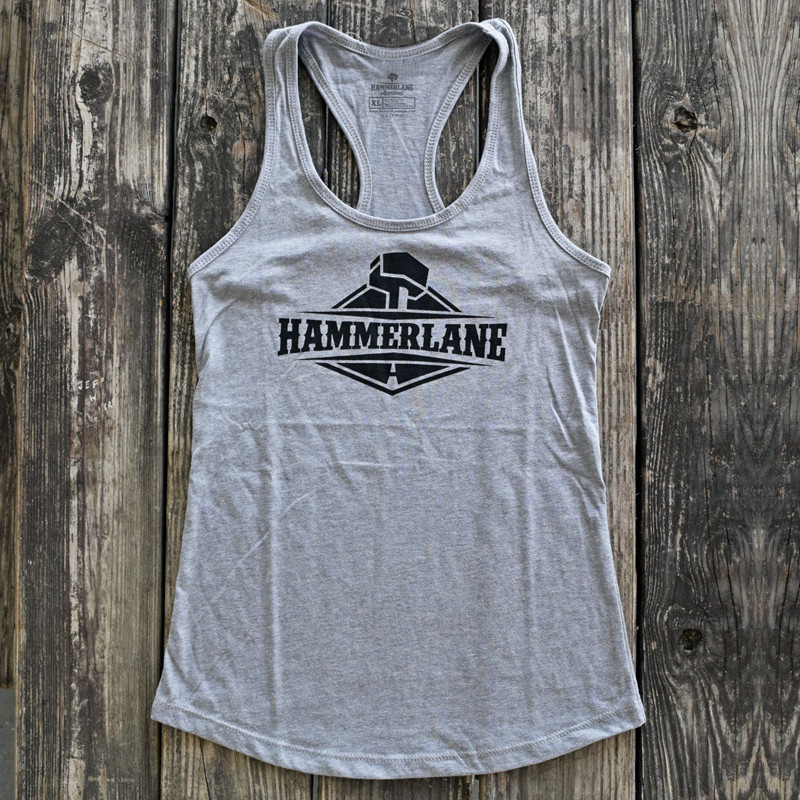 Ladies Hammer Lane Logo Tank Top Heather Grey On Pallet