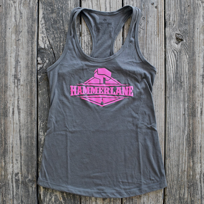 Ladies Hammer Lane Logo Tank Top Dark Grey On Pallet