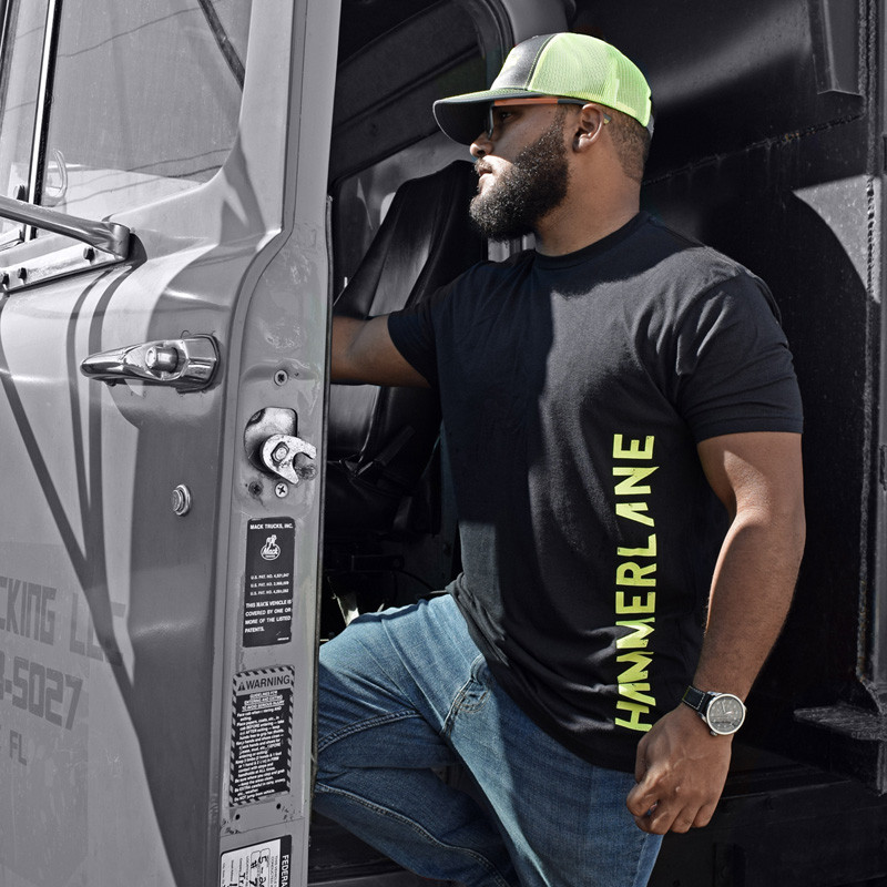 Hammer Lane Vertical Green Logo T-Shirt On Model