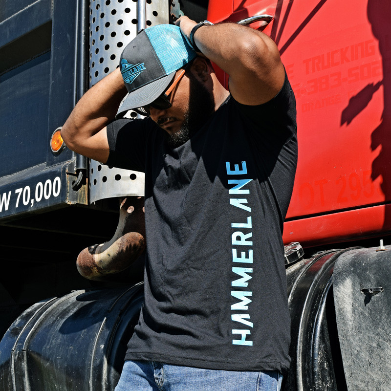 Hammer Lane Vertical Blue Logo T-Shirt On Model