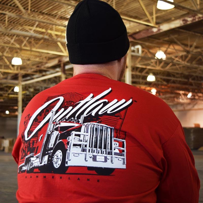 Outlaw Hammer Lane Long Sleeve T-Shirt On Model Close Up