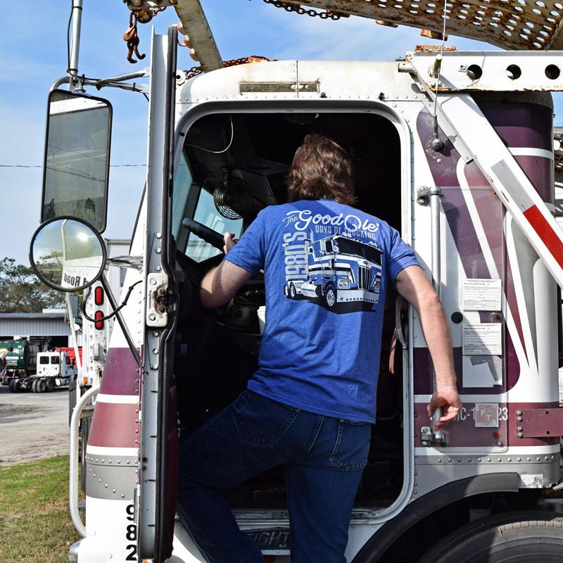 Good Ole Days Of Trucking Hammer Lane T-Shirt On Model