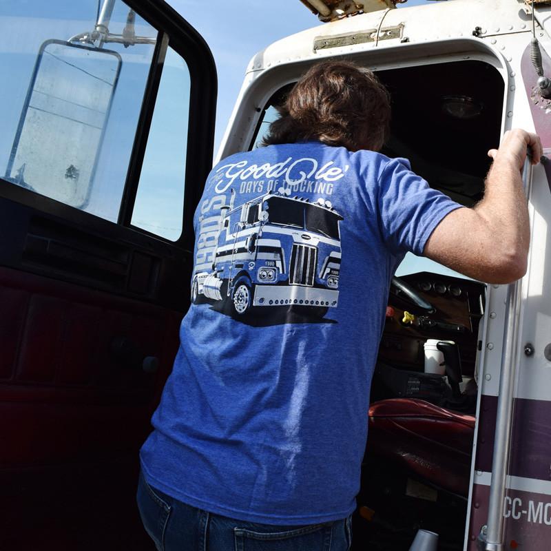 Good Ole Days Of Trucking Hammer Lane T-Shirt On Model Close Up