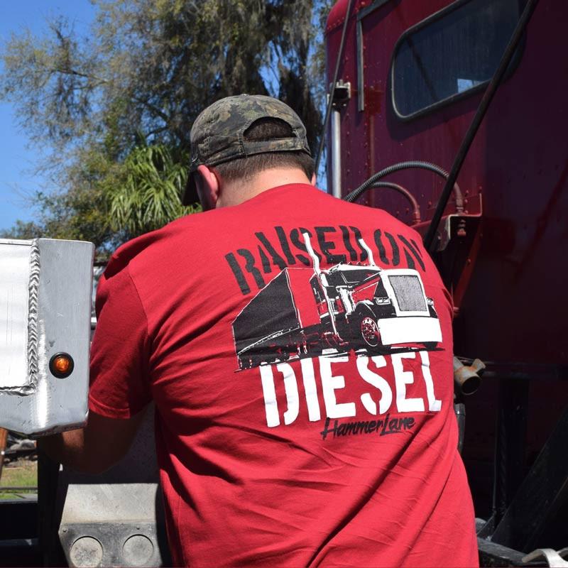 Raised On Diesel Hammer Lane T-Shirt On Model Angled