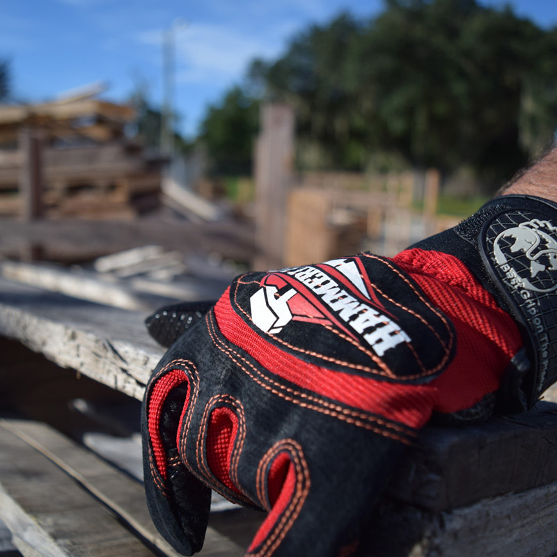Hammer Lane Multipurpose Mens Trucker Gloves Fire Red In Use