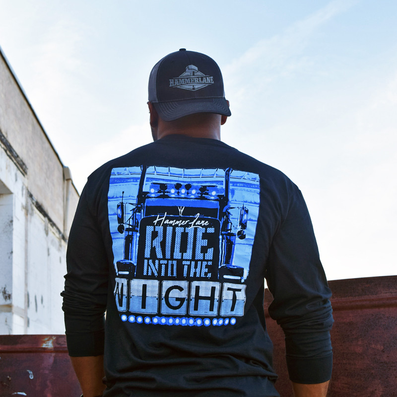 Ride Into The Night Hammer Lane Long Sleeve T-Shirt On Model Back
