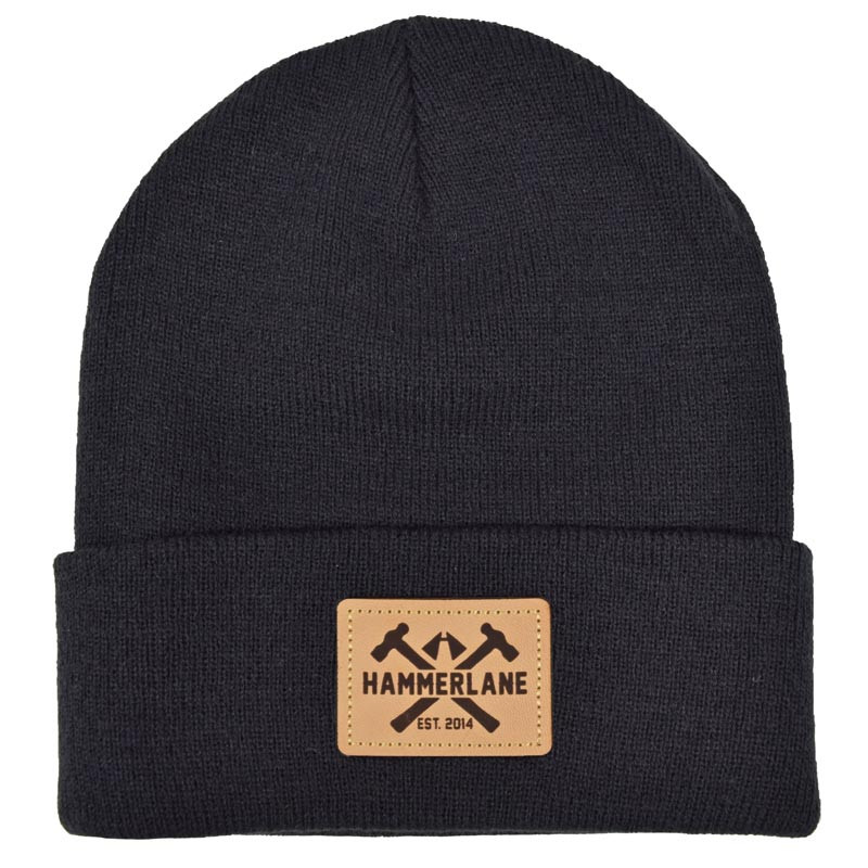 Hammer Lane Logo Patch Beanie Black