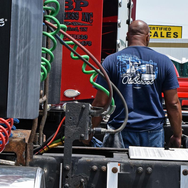 Old School Hammer Lane Trucker T-Shirt On Model
