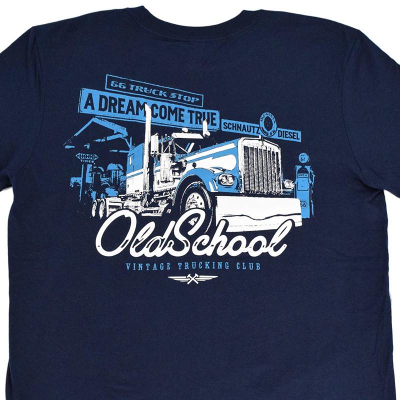 Old School Hammer Lane Trucker T-Shirt Back Close Up