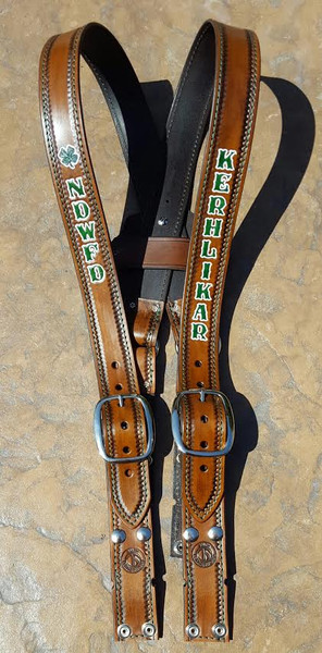 1 3/4 custom leather turnout suspenders - Green dyed lettering outlined in white, scalloped border, and green stitching