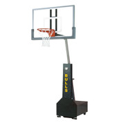 Bison Club Court Portable and Adjustable Height Indoor Basketball System with Glass Backboard