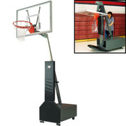 Bison Club Court Portable and Adjustable Height Indoor Basketball System with Acrylic Backboard