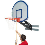 Bison Wall Mount Adjustable Height QwikChange Acrylic Basketball System - Graphite Backboard