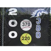Yellow Softball w/ Horizontal Numbers (3'D)
