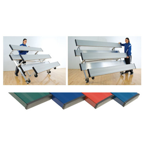 2 Row 8' Tip n' Roll Bleachers (colored) - Navy