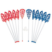 Plastic Blue and Red Full Soft Lacrosse Stick Set