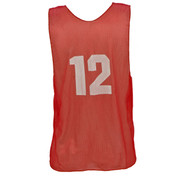 Adult Numbered Nylon Micro Mesh Practice Vest - Red