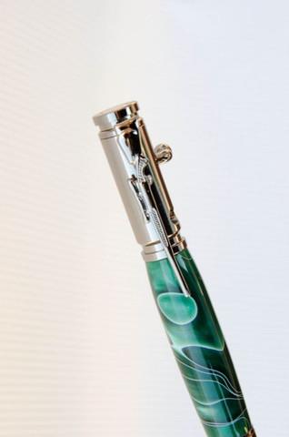Green Black Marble Swirl Bolt Action Bullet Pen