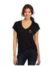 LADIES FITTED CLASSIC BLACK SHORT SLEEVE CLUB  T