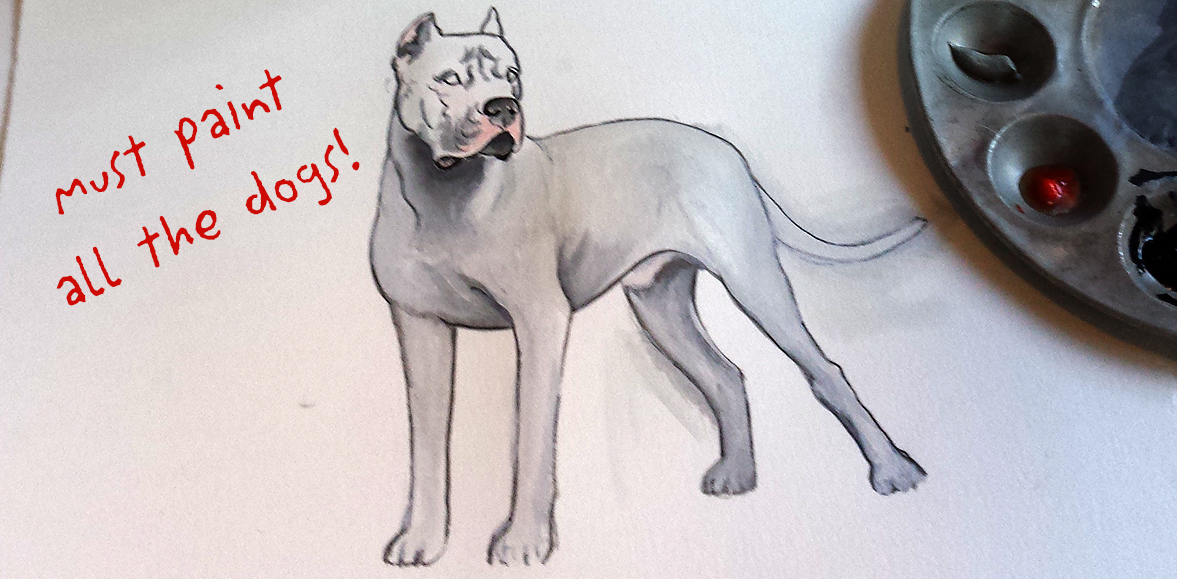 Must Paint All The Dogs - Dogo Argentino in progress