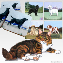 Maine Coon Cat Scenic Coasters