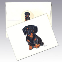 Smooth Coated Black and Tan Dachshund Note Cards